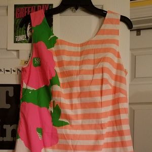 Lilly Pulitzer Flower & Stripe Dress EUC size 10